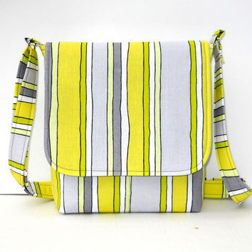 Small Messenger Bag - Gray Lime and Yellow Stripe - Long Adjustable Strap