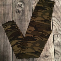Army Green Camo Full Length Leggings