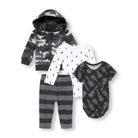 Baby Boys Camo Rockstar Hoodie Bodysuits And Pants 4-Piece Playwear Set