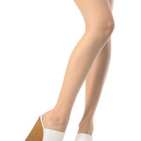 White Faux Leather Slip In Wooden Wedges