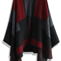 Wine Color Blocks Blanket Cape