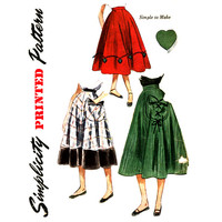 1950s Circle Skirt Pattern UNCUT Waist 25 Simplicity 3393 Gored Rockabilly Skirt Applique Pocket Variations Womens Vintage Sewing Patterns