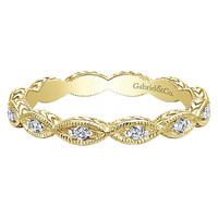 14K Yellow Gold Marquise Shaped Stackable Diamond Ring