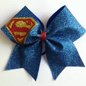 3inch BIG Cheerbow Superhero Superman Glitter Cheerleader Cheer Bow