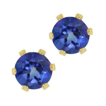 1.20 Ct Round Shape Blue Mystic Topaz Yellow Gold Plated Brass Stud Earrings