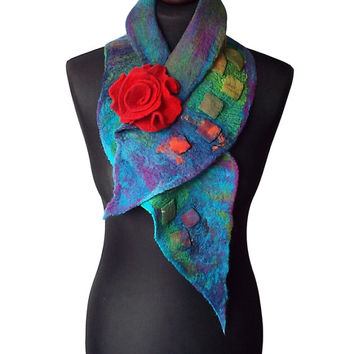 Nuno felted collar colorful nuno felt scarf colorful art to wear women's gift multicolor collar with felted brooch spring shawl OOAK