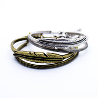 Feather bangle bracelet set
