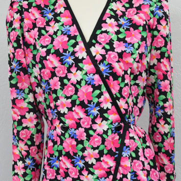 Vintage 80s Pink and Black Silk Peplum Jacket, Silk Floral Jacket, Puff Sleeve Cropped Jacket, Womens Blazer Size M