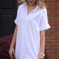 Crisp Cotton Shift, White