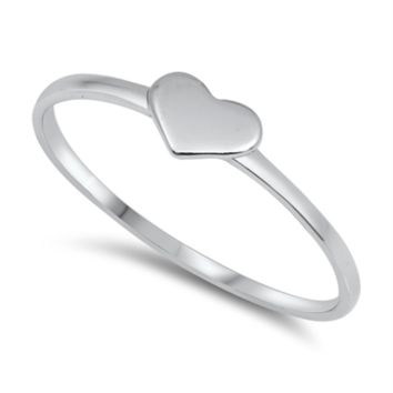 .925 Sterling Silver Little Heart Ring Ladies and Kids Size 4-10 Midi