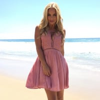 Blushing Beauty Skater Dress In Pink