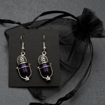 Welcome to Night Vale – pair of purple and silver tone NVCR microphone fandom dangle earrings
