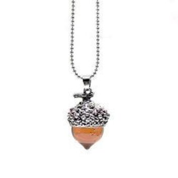 Amber Glass Acorn Pendant Necklace