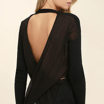 Reign Over Black Backless Sweater Top