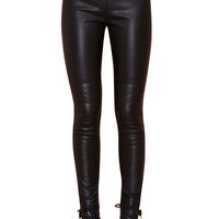 PU Leather Black Narrow Feet Pants