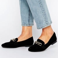 River Island Square Front Loafer With Chain Detail at asos.com