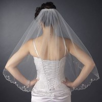 Beaded Embroidery Scallop Elbow Wedding Veil
