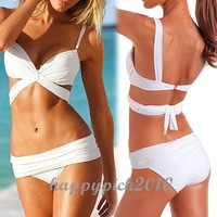 Womens Wonderful Sexy Bikini Swimwear Swimming Suit Push Up Padded White 19v