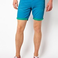 Solid Denim Shorts With Contrast Turnup at asos.com