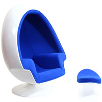Alpha Lounge Chair and Ottoman - Blue