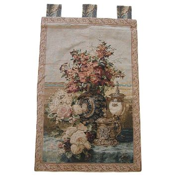 "Rose Radiance Floral Elegant Woven Fabric Baroque Tapestry Wall Hanging - 28"" x 43"""