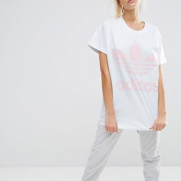 adidas Originals Big Trefoil Tee In White And Pink at asos.com