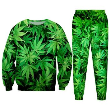 Green Hemp Leaf Weed 3d Hoodie Pullovers  Men/Women Tracksuit