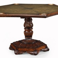 Fancy card or game table leather top seating for six players Bernadette Livingston Furniture provides the finest in luxury furniture and high end English antique reproduction furniture.We help make your home comfortable and unique.