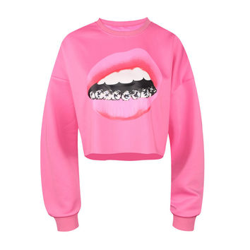 Women's Diamonds Grill Girls Mouth Pink Lipstick Printed Pink Winter Fitness Fashion Crop Top Sweatshirt