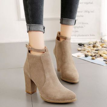 Pointed Toe Suede Straps Middle Chunky Heel Short Boots