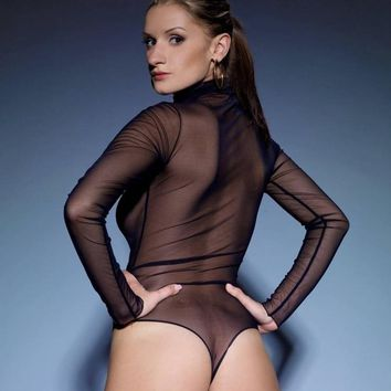 Sexy Women Sheer Mesh Long-sleeve Turtleneck Bodysuit Leotard Top One Piece Underwear Teddies Bodystocking Fishnet