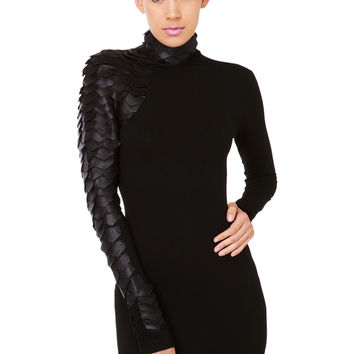 Gracia Slither Black Scale Mini Dress