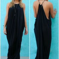 Bora Bora Razor Back Black Maxi Dress