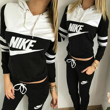 "Women Fashion ""NIKE"" Print Hoodie Top Sweater Pants Sweatpants Set Two-Piece Sportswear [2974244233]"