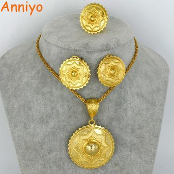Anniyo NEW Ethiopian Gold Color Jewelry set Habesha Eritrean Necklace/Earrings/Free Size Ring for Women Ethnic Gift #059606