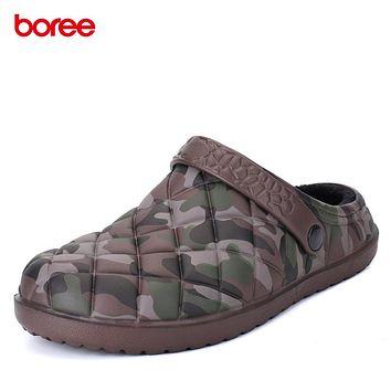 Boree Winter Indoor Slippers Men Cotton-Padded Home Shoes Slippers Cotton Drag Chausson Warm Indoor Slippers Bedroom Hombre 47