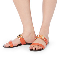 Giuseppe Zanotti Nuvoroll Orange Leather Flat Sandals - INTERMIX®