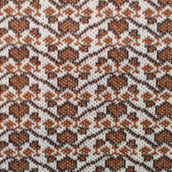 70s Double Knit Fabric Vintage Retro Yardage -  Polyester Brown and White Hearts 1.5 yds