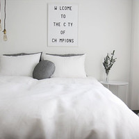 Washed White Linen Soft Twin / Queen Size Bedding Set
