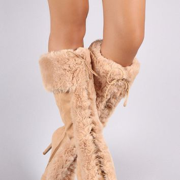 Qupid Faux Fur Suede Lace Up Pointy Toe Stiletto Boots