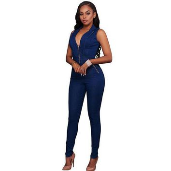 PEAPGC3 New Summer Women Slim Casual Jumpsuits Jeans Deep V Sleeveless Rompers Female Sexy Club Zipper Overalls Macacao Feminino