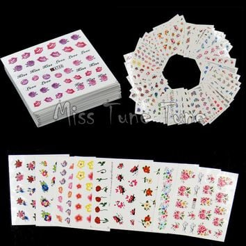 50pcs Flowers Roses Water Nail Stickers Water Transfer Nail Decals Mixed Flowers Designs Spring Garden Manicure 2017