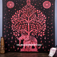 Elephant Tree Tapestry, Tree of Life Hippie Tapestries, Bohemian Tapestry Wall Hanging, Indian Wall Tapestries, Boho Dorm Tapestry Throw