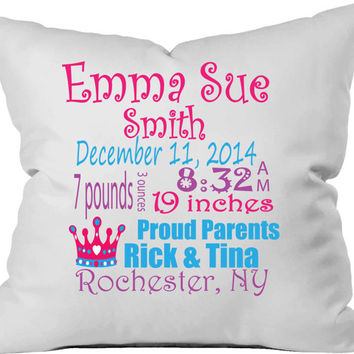 Personalized birth announcement throw pillow. Baby girl.  Princess tiara.