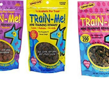 Crazy Dog Train-Me! Training Reward Dog Treats 3 Flavor Variety Bundle: (1) Train-Me! Bacon Flavor, (1) Train-Me! Chicken Flavor, and (1) Train-Me! Beef Flavor, 4 Oz. Ea. (3 Bags Total)