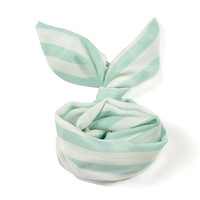 Mint White Sailor Stripe Vintage Retro 50's 60's Bun Wired Headband Twist Chiffon Hairband Wraps Hair Band Bow Accessory Gift (HBS-574)