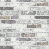 Faux : White Grey Brick Wallpaper