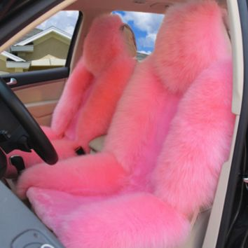 Lit Fluffy Pink Seat Cover