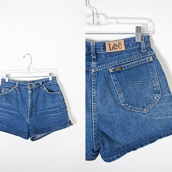 1970s High Waisted Denim Shorts / Dark Blue Denim Shorts / Faded Denim / Bohemian Clothing / Vintage Lee Jeans / High Waist 70s Shorts