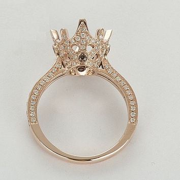 Imperial Crown 14k Rose Gold Diamond and Topaz Semi Mount Ring Setting